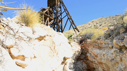 Pan of Standard Mine Head 1 and Mine in the Mojave Desert