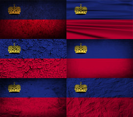 Set of 6 flags of Liechtenstein with old texture. Vector