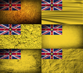 Set of 6 flags of Niue with old texture. Vector