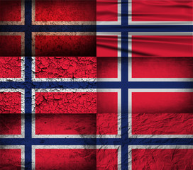 Set of 6 flags of Norway with old texture. Vector