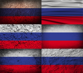 Set of 6 flags of Russia with old texture. Vector