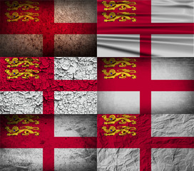 Set of 6 flags of Sark with old texture. Vector