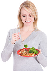 Choices: Woman Eating A Healthy Dinner