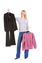 Choices: Woman Deciding Between Fancy Suit Or Lazy Sweatshirt