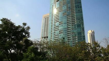 Skyscraper tilt up shot