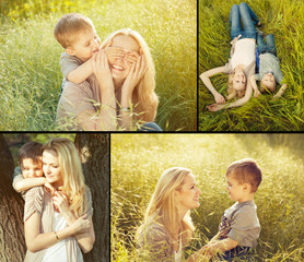 Collage of baby boy and his mother plaing in the park. Happy fam