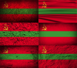 FlagSet of 6 flags of Transnistria with old texture. Vector