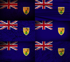 FlagSet of 6 flags of Turks and Caicos with old texture. Vector