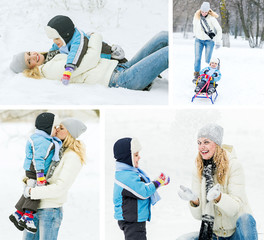 Happy family concept. Mother and her child plaing with snow, win