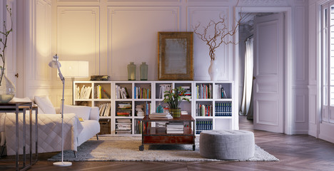leseecke mit sofa in altbauwohnung