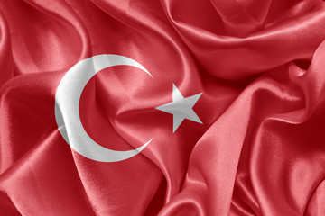 satin Turkish flag