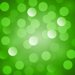 Abstract green vector background with realistic bokeh lights