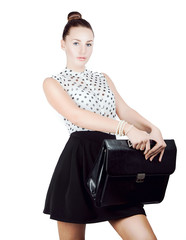 Young pretty girl student with man's leather briefcase. Isolated