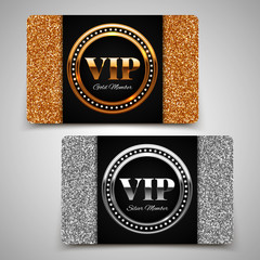 Gold and silver VIP premium member cards with glitter