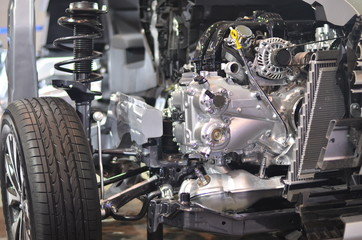 section of new car engine