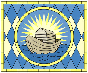 Noah's Ark (Christian Symbol), stained glass