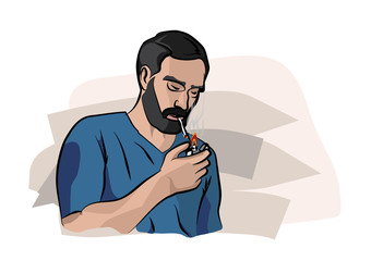 Man smokes, vector illustration