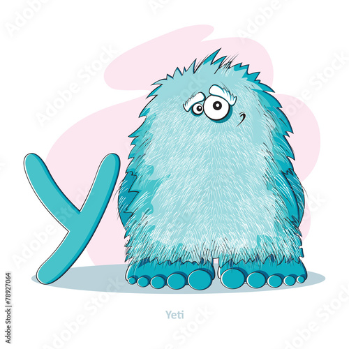 Cartoons Alphabet - Letter Y with funny Yeti
