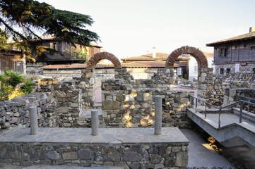 Ruins in ancient city of Sozopol in Bulgaria