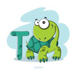Cartoons Alphabet - Letter T with funny Tortoise - 78927695