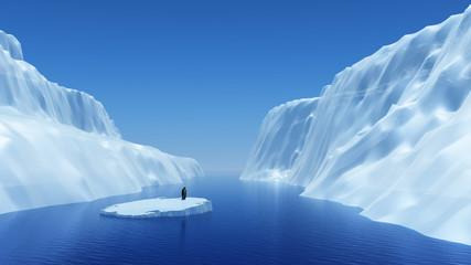 Penguin on floating iceberg