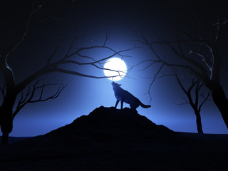 3D render of a wolf howling at the moon
