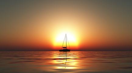 Yacht on sea at sunset