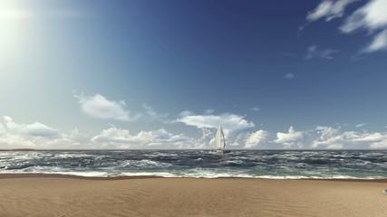 Sahilden Yelken Manzarası