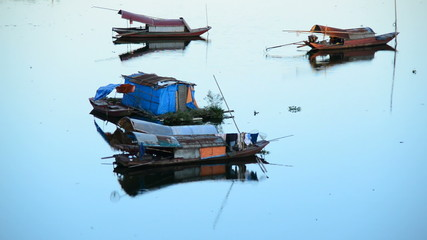 Fishing Boats in the Song Hong River -  Hanoi Vietnam