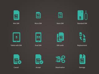 Set of mini, micro and nano simcard icons set.