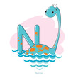 Cartoons Alphabet - Letter N with funny Nessie - 78928474