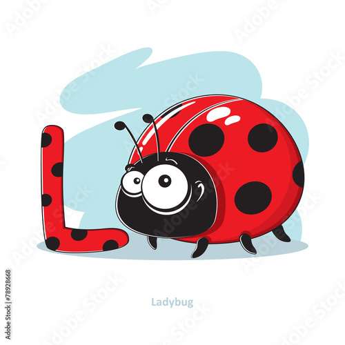Cartoons Alphabet - Letter L with funny Ladybug