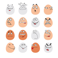 Funny faces on eggs.