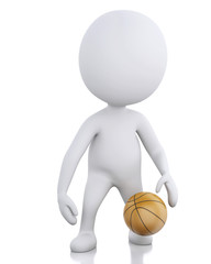 3d white basketball player with ball.  Isolated white background