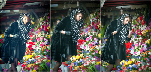 Beautiful brunette woman choosing flowers at florist shop