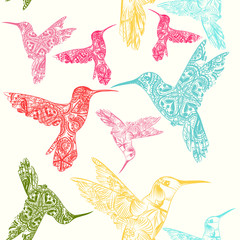 Vector seamless pattern with colorful hummingbirds