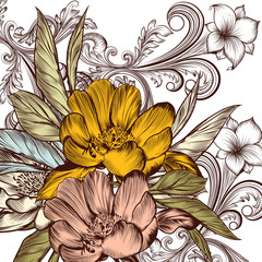 Flower vector pattern with peony and ornament