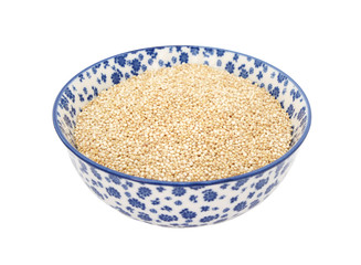 Quinoa in a blue and white china bowl