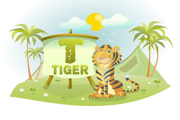 Funny Cartoon Alphabet T With Tiger