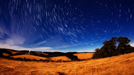 Motorized dolly timelapse video of growing star trails