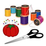 Fototapety Sewing Kit, thread, scissors, pins, pincushion, sew, DIY fashion