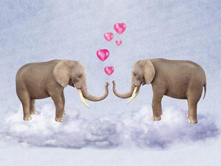 Two elephants in love.