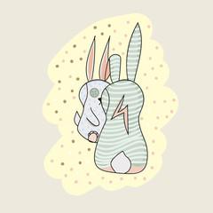 Two bunny cartoon character