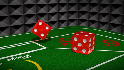 Craps Table Dice Throw 3D