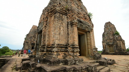 Tourists Walk on top of Temple - Angkor Wat, Cambodia