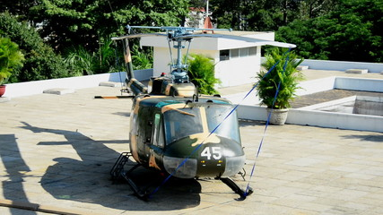 Zoom Out - American Huey Helicopter on the Roof - Independence Palace