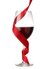 Red Wine with Red Ribbon on White