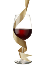 Red Wine with Gold Ribbon on White
