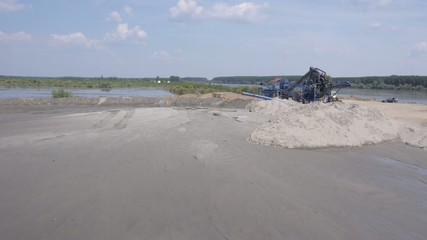 Aerial view of sand extraction from river