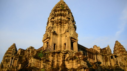 Zoom Out of Stone Temple Remains - Angkor Wat Temple Cambodia